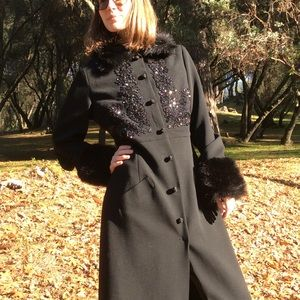 Tracy Reese Jackets & Coats - Tracy Reese Wool Fur Dramatic Maxi Winter Coat